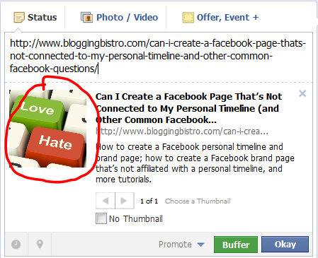 How to Edit the Thumbnail Image that Accompanies a Facebook