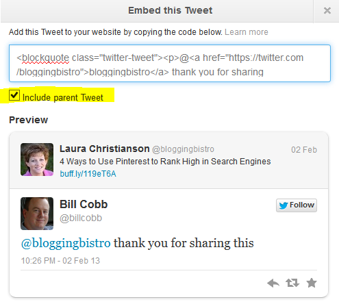 How to embed a tweet 4