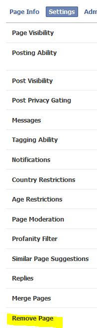 Facebook Page Edit Settings