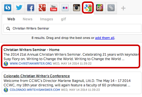 Storify 6 Add from Google Search