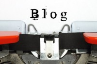 Part of typing machine with typed blog word