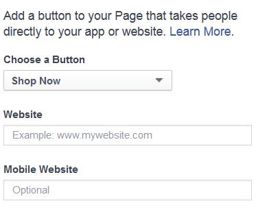 Facebook call-to-action dropdown menu