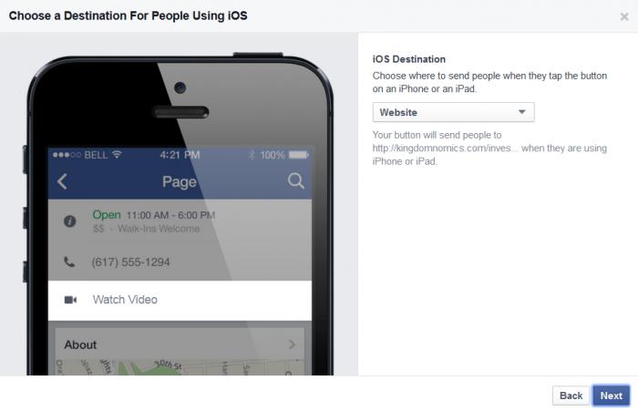 IOS Facebook call to action