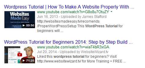How YouTube videos are displayed in Google search results