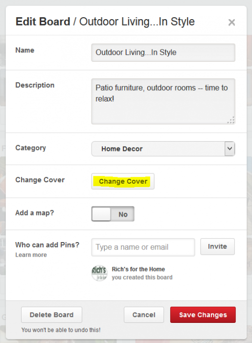 How to change a Pinterest board cover