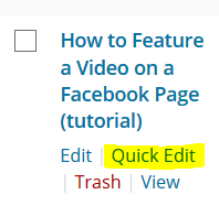How to make a WordPress post sticky using the Quick Edit function