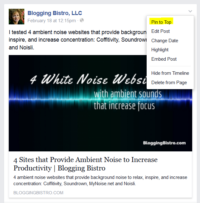 How to pin a post to the top of a Facebook Page or Group Timeline