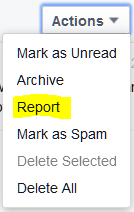 How to report a Facebook private message as spam/scam