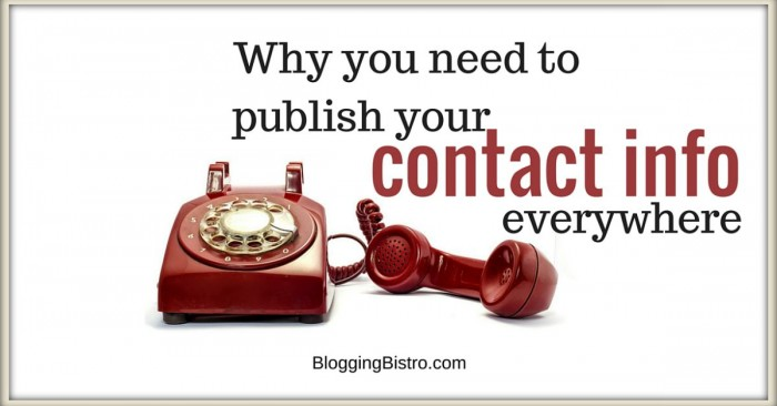Why you need to publish updated contact info everywhere online | BloggingBistro.com