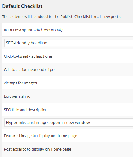 Default Checklist for the Pre-Publish Post Checklist WordPress plugin