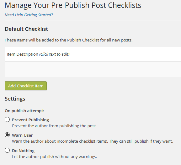 Pre-Publish Post Checklist Plugin Settings