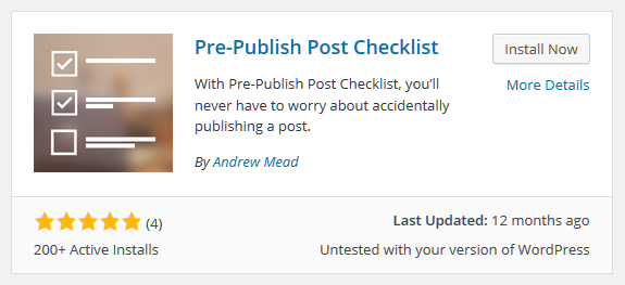 Pre-Publish Post Checklist Plugin for WordPress