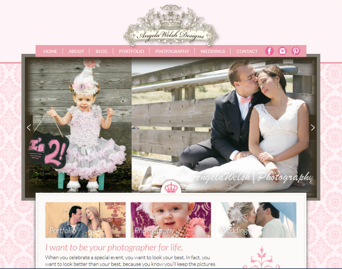 AngelaWelshDesigns.com Home page, created by BloggingBistro.com