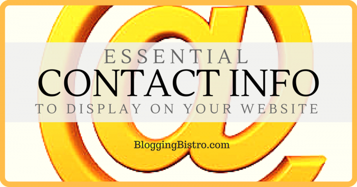 Essential Contact Info to Display on Your Website | BloggingBistro.com