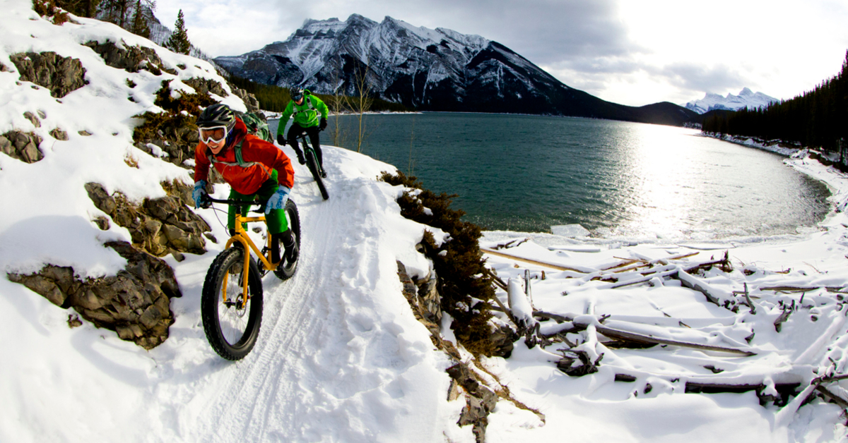 Bicyclists in snow via iStock
