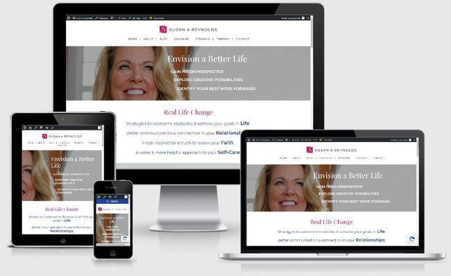 Custom Responsive Design WordPress Website for Susan A. Reynolds, Licensed Marriage & Family Therapist, Coach, Author & Speaker   BloggingBistro.com