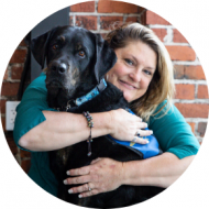 Christy Hoss and her service dog, Aiden