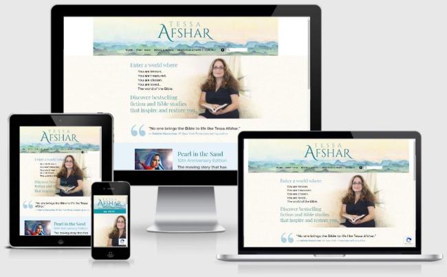Tessa Afshar Custom WordPress Website   created by the team at BloggingBistro.com