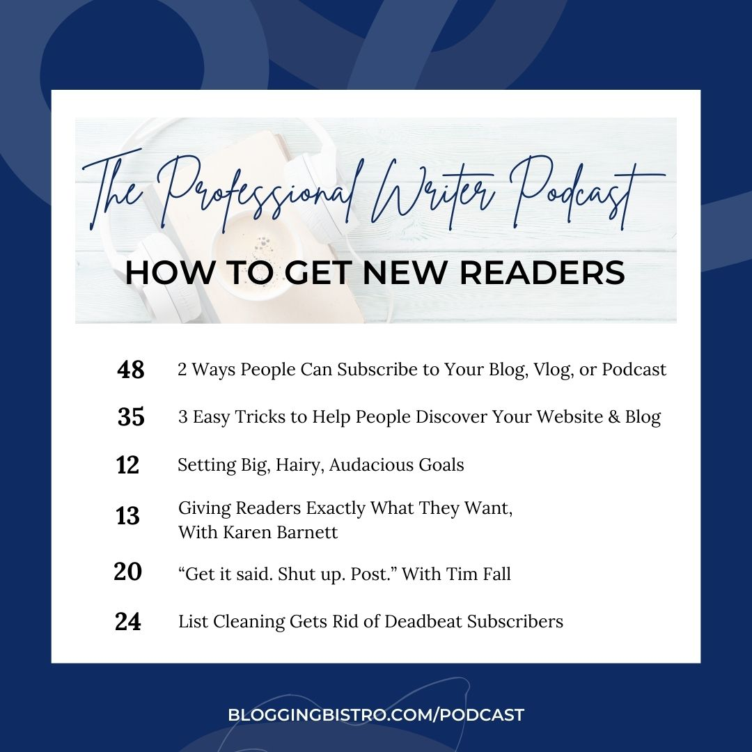 How to get new readers - featured episodes of The Professional Writer podcast with Laura Christianson