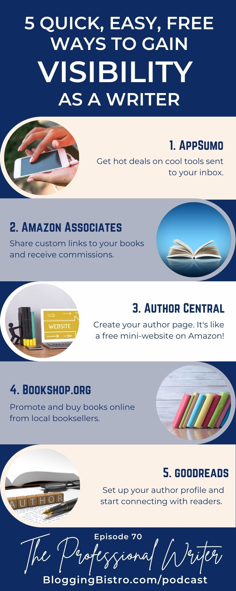 Infographic: 5 Quick, Easy, and Free Ways to Gain Visibility as a Writer